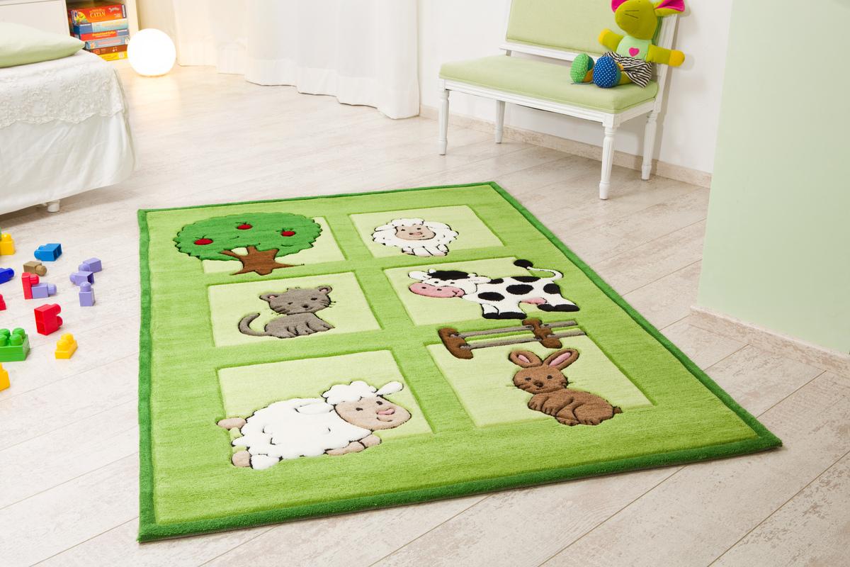 Kinderteppich grün gelb  Kelii Kinder-Teppich Bauernhof grün Teppich Kinderteppich bei ...