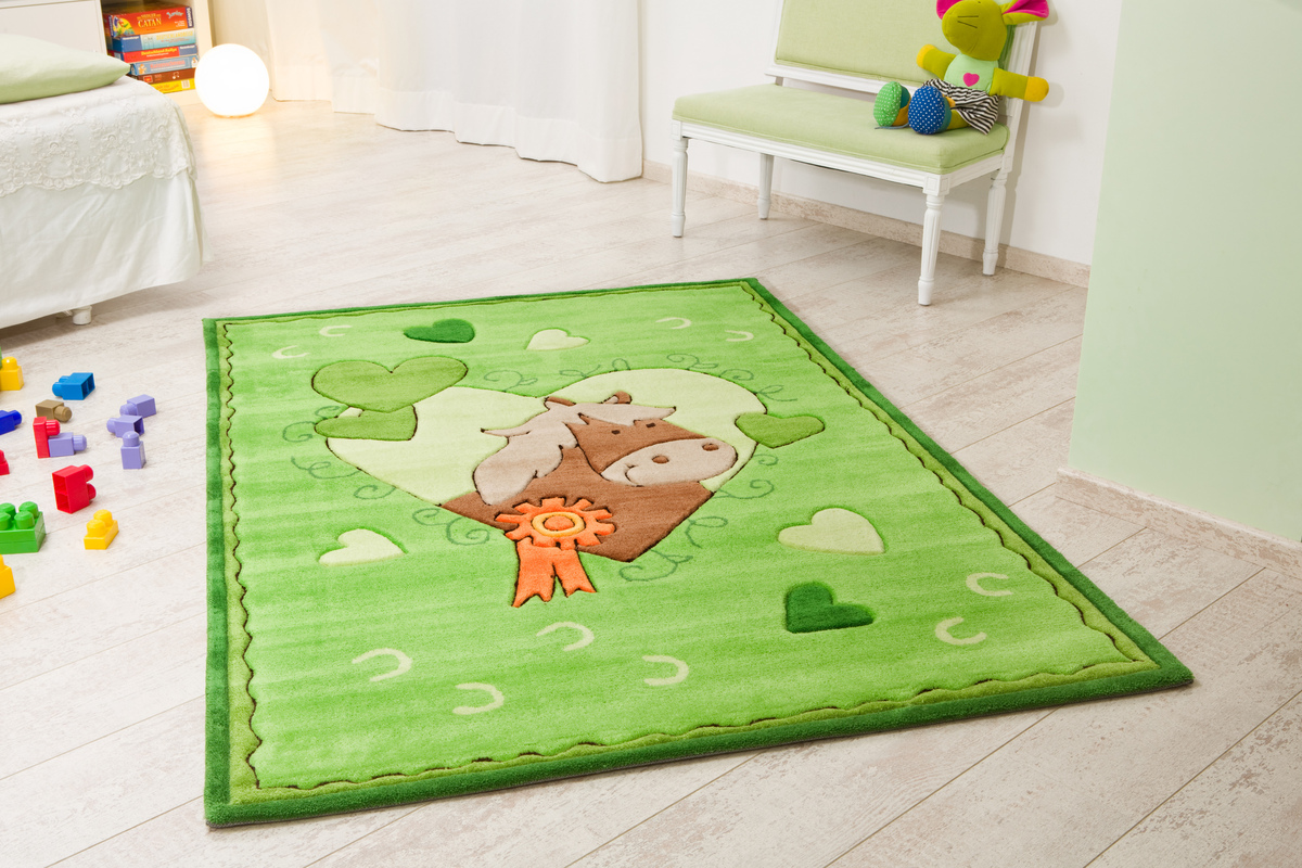 Kelii Kinder-Teppich Pony grün Teppich Kinderteppich bei tepgo ...