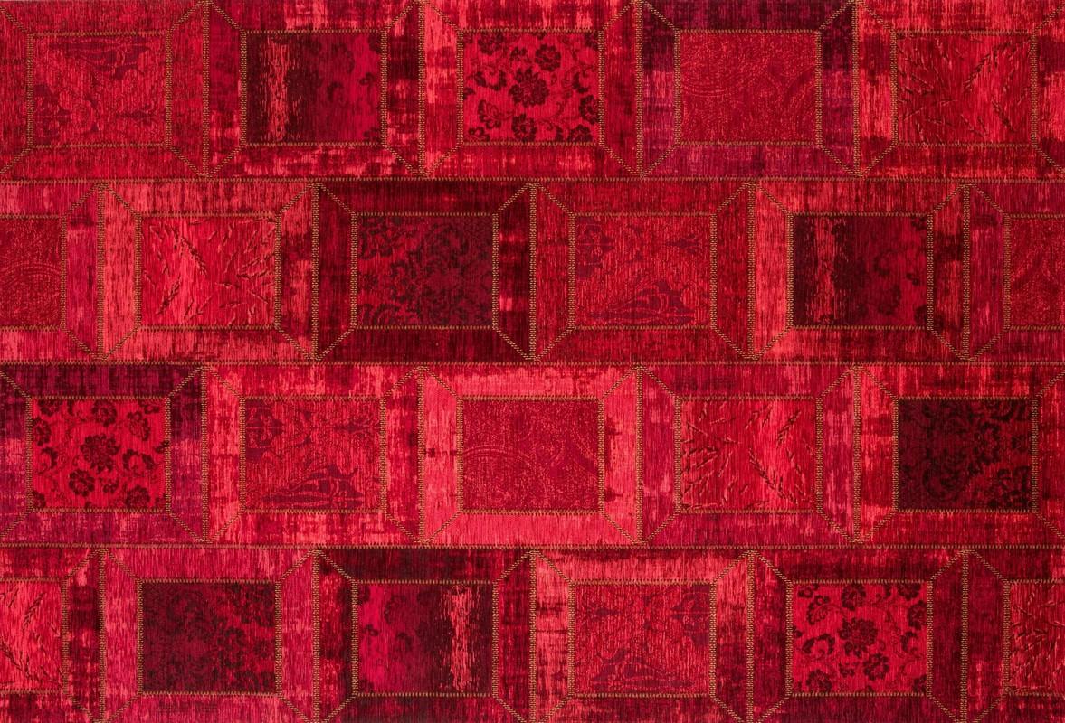 kelii patchwork teppich montana rot designerteppich bei tepgo kaufen versandkostenfrei. Black Bedroom Furniture Sets. Home Design Ideas